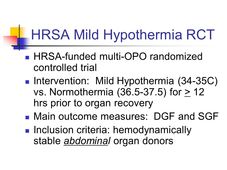 HRSA Mild Hypothermia RCT