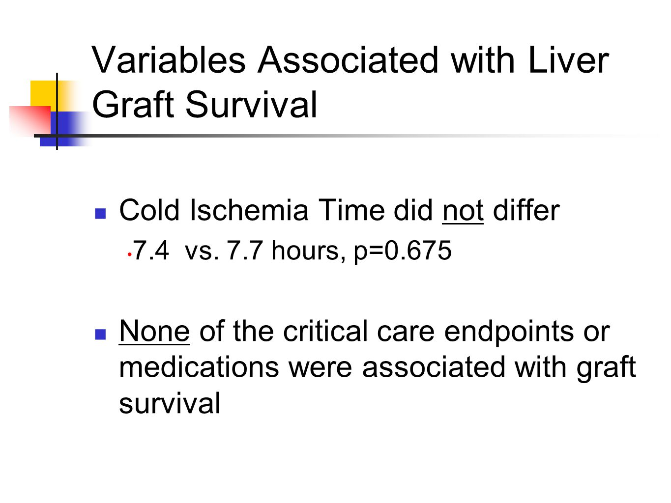 Variables Associated with Liver Graft Survival