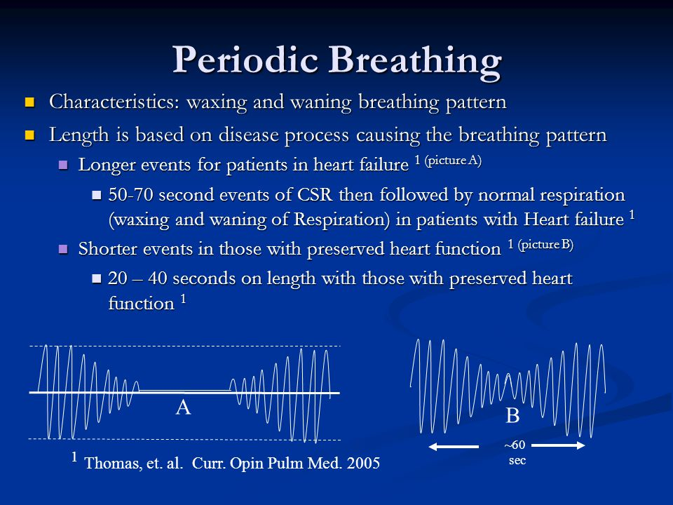 Periodic Breathing Characteristics: waxing and waning breathing pattern. Length is based on disease process causing the breathing pattern.