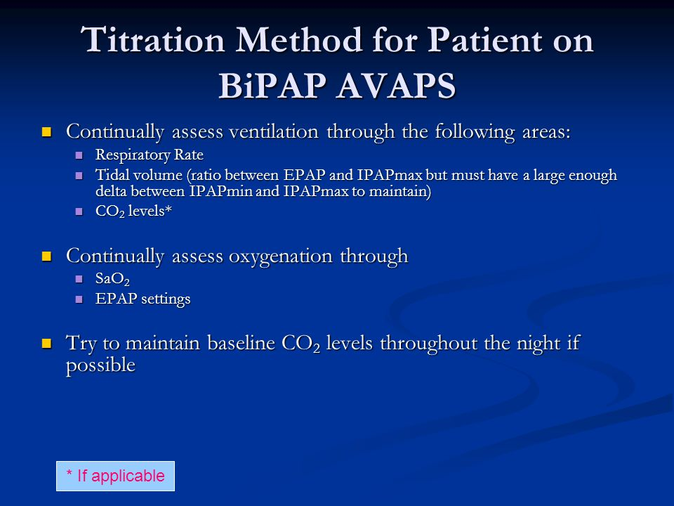 Titration Method for Patient on BiPAP AVAPS