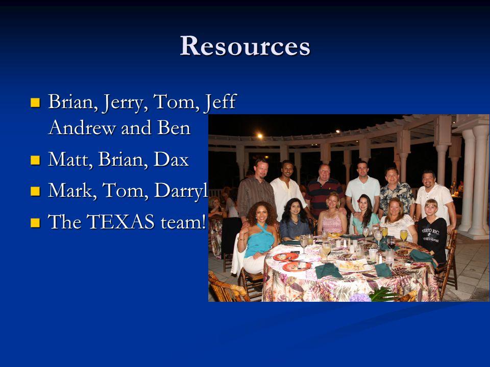 Resources Brian, Jerry, Tom, Jeff Andrew and Ben Matt, Brian, Dax