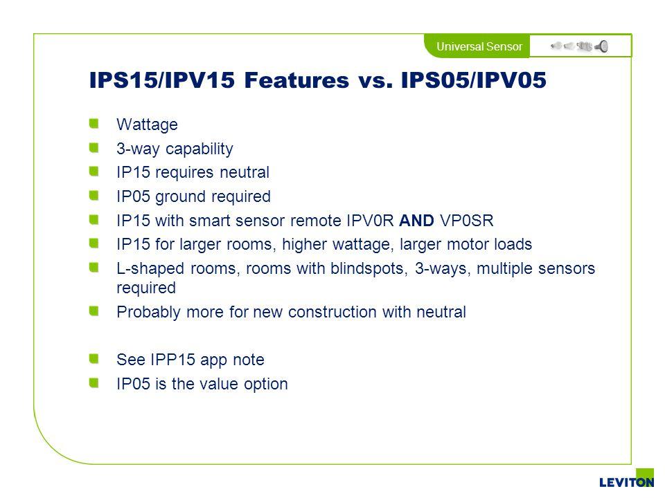 IPS15/IPV15 Features vs. IPS05/IPV05