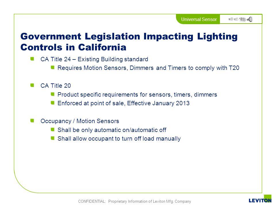 Government Legislation Impacting Lighting Controls in California