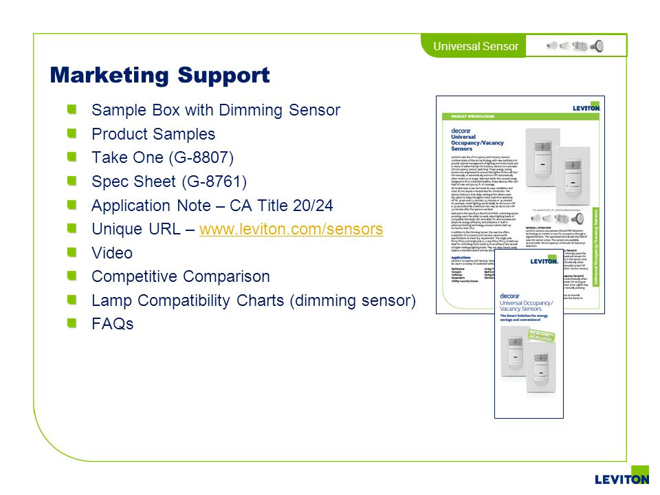 Marketing Support Sample Box with Dimming Sensor Product Samples