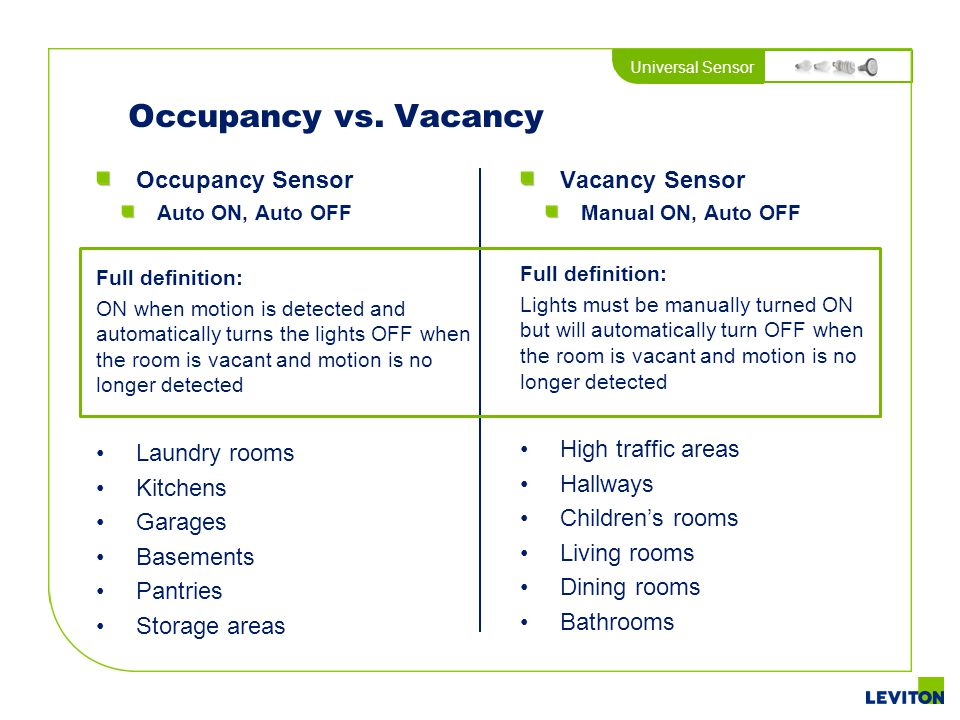 Occupancy vs. Vacancy Occupancy Sensor Laundry rooms Kitchens Garages