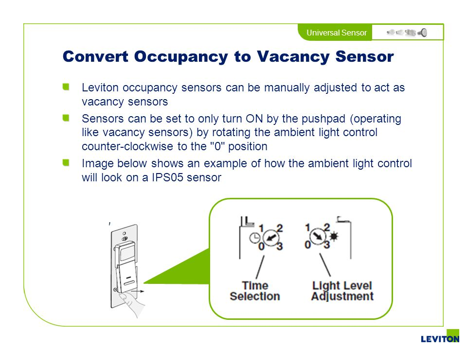 Convert Occupancy to Vacancy Sensor