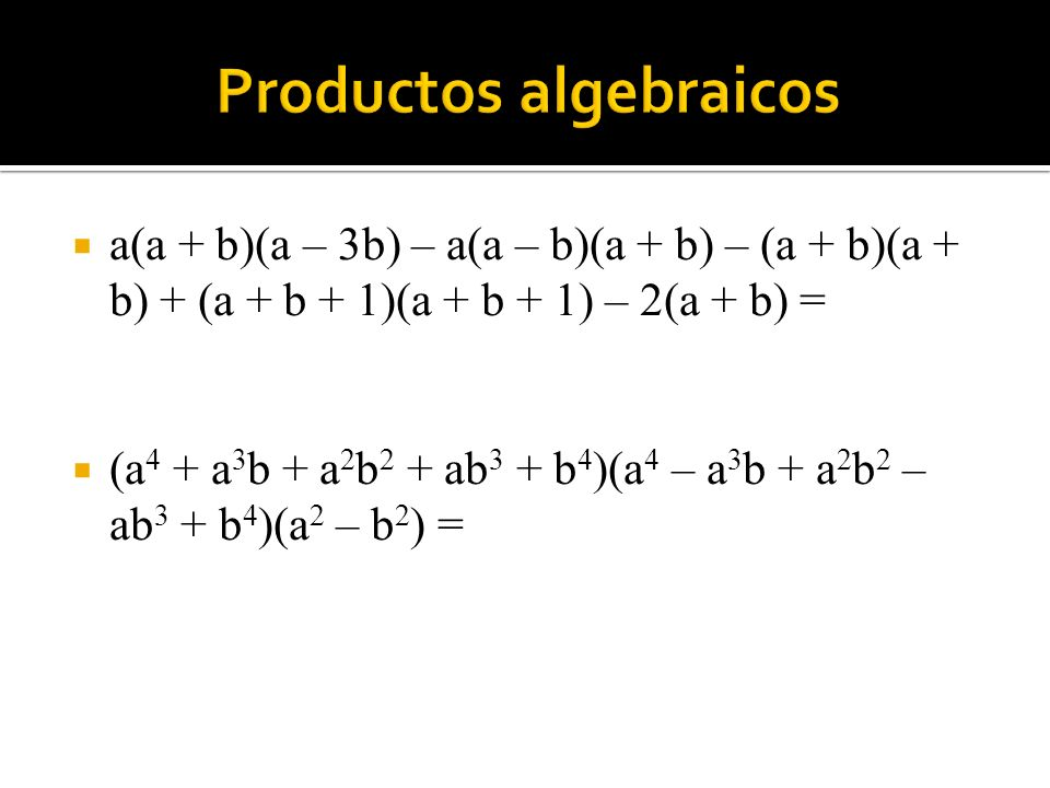 Productos algebraicos