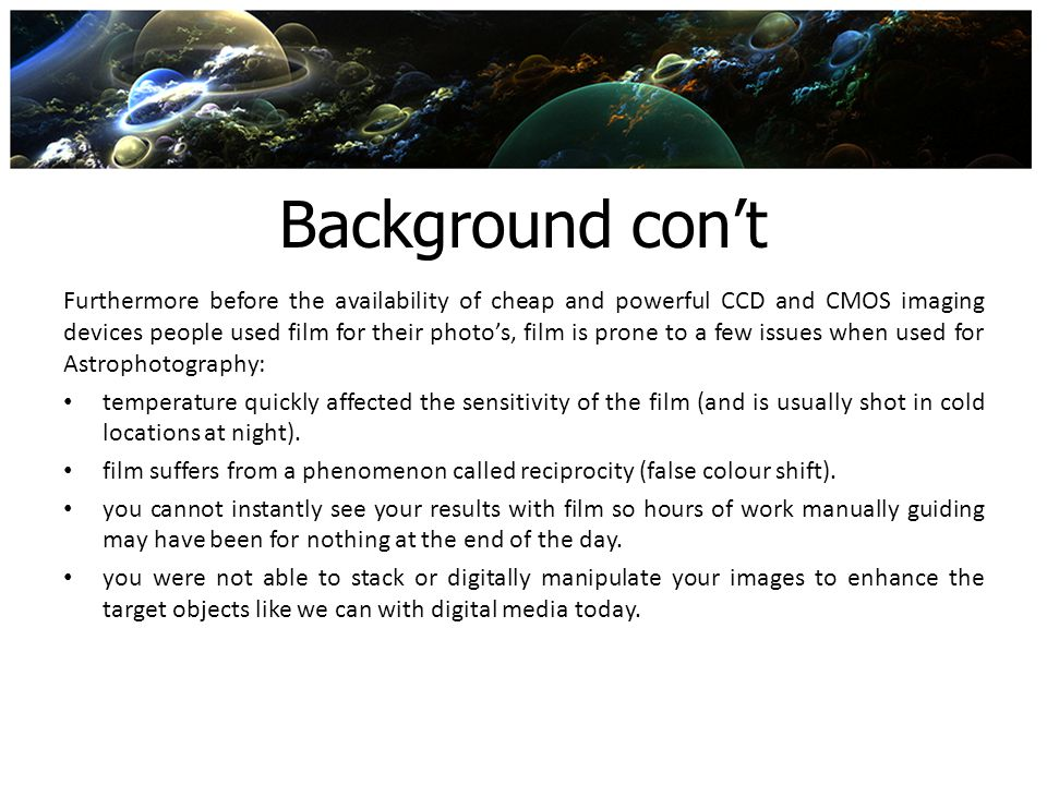 Background con't