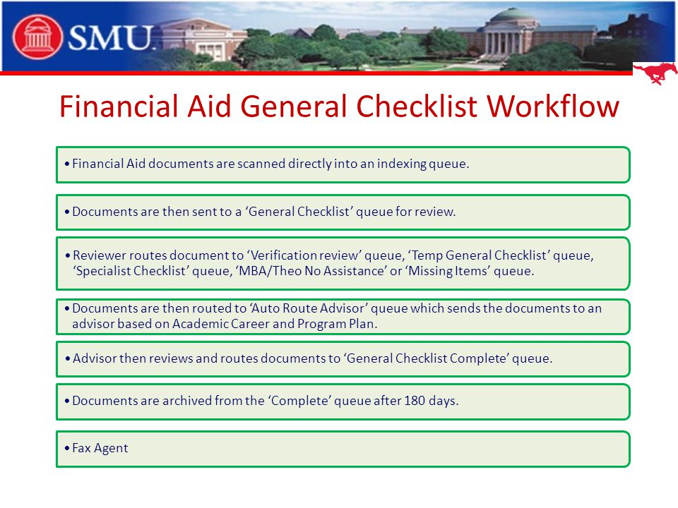 Financial Aid General Checklist Workflow