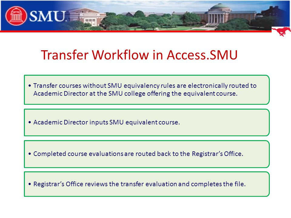 Transfer Workflow in Access.SMU