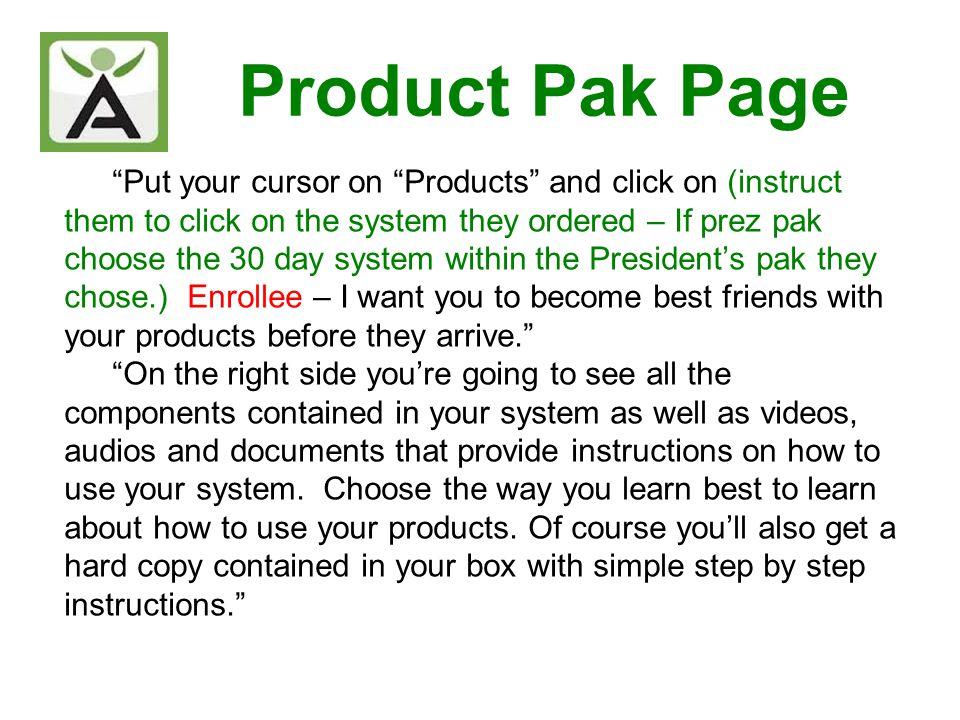 Product Pak Page