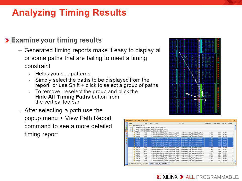 Analyzing Timing Results