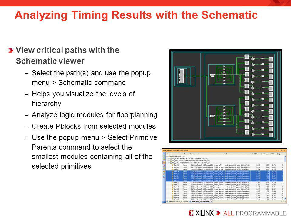 Analyzing Timing Results with the Schematic