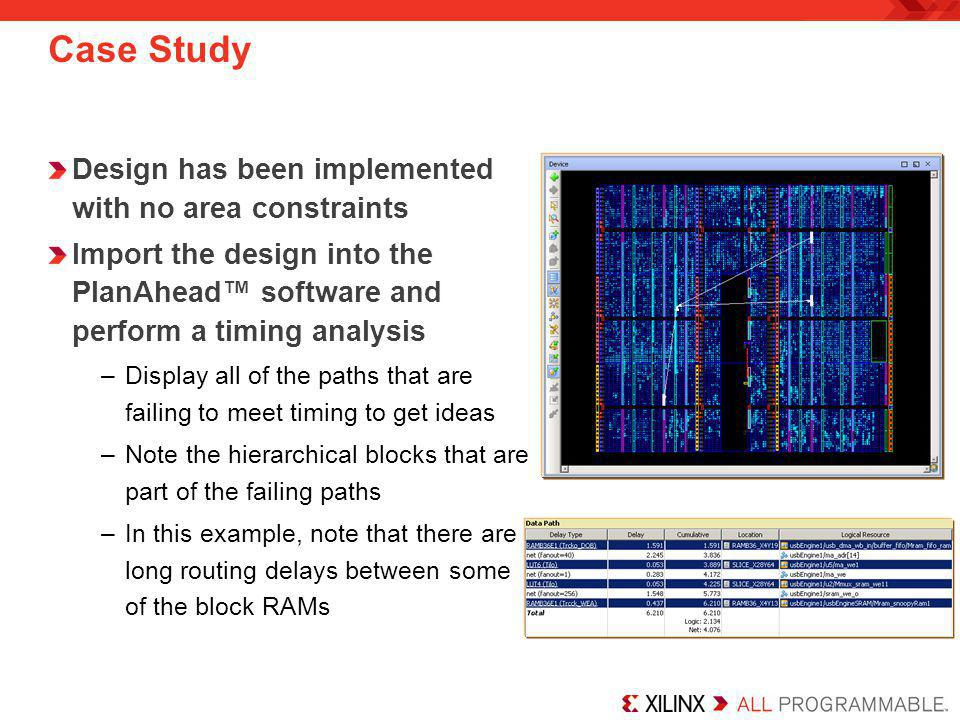 Case Study Design has been implemented with no area constraints