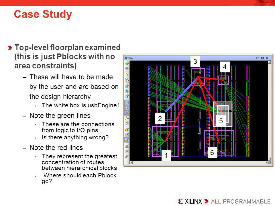 Case Study Top-level floorplan examined (this is just Pblocks with no area constraints)