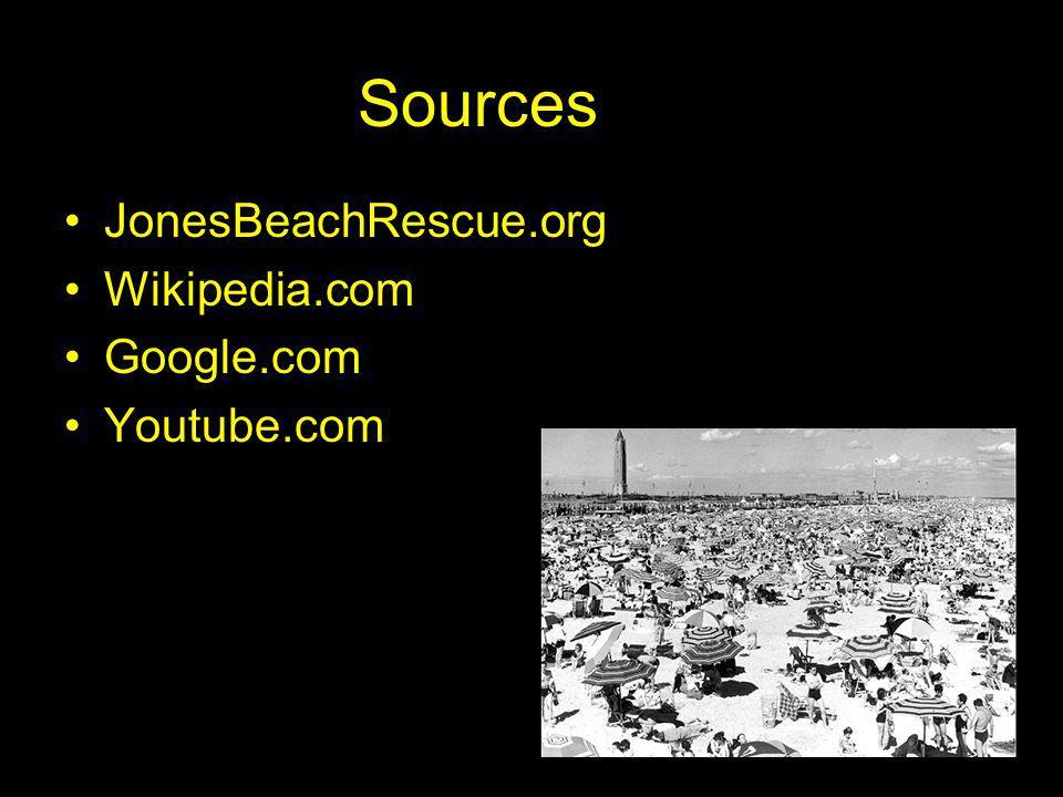 Sources JonesBeachRescue.org Wikipedia.com Google.com Youtube.com