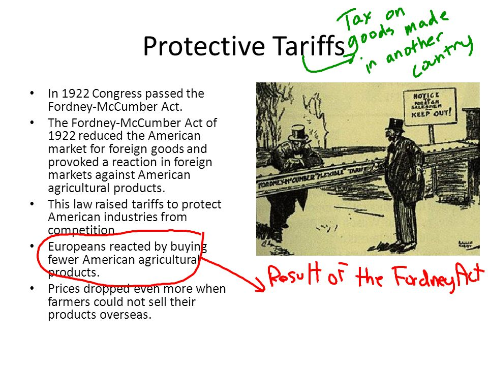 Protective Tariffs In 1922 Congress passed the Fordney-McCumber Act.