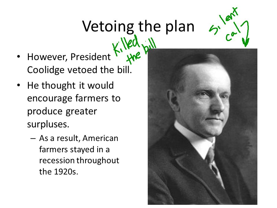 Vetoing the plan However, President Coolidge vetoed the bill.