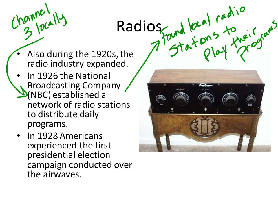 Radios Also during the 1920s, the radio industry expanded.