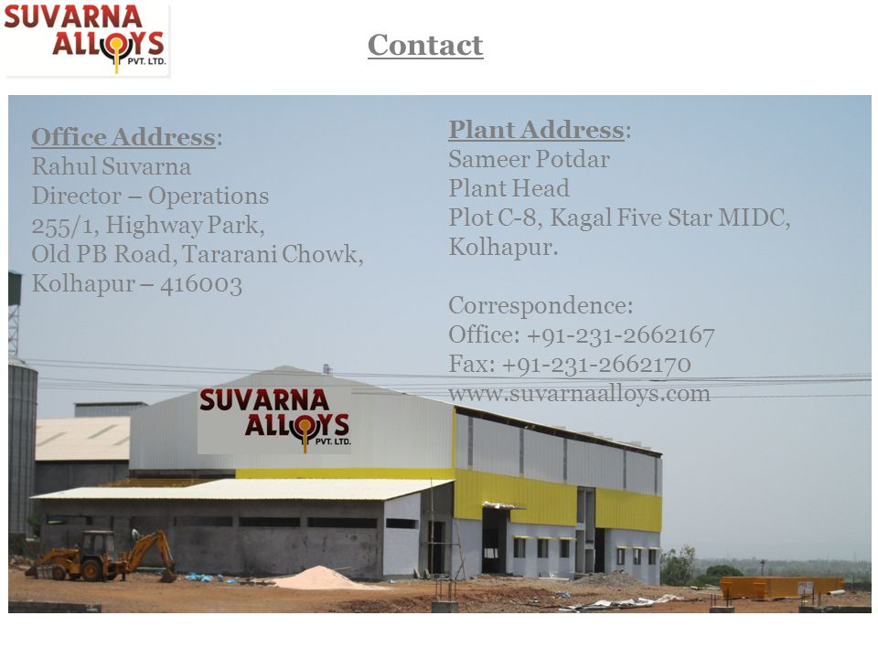 Contact Plant Address: Office Address: Sameer Potdar Rahul Suvarna