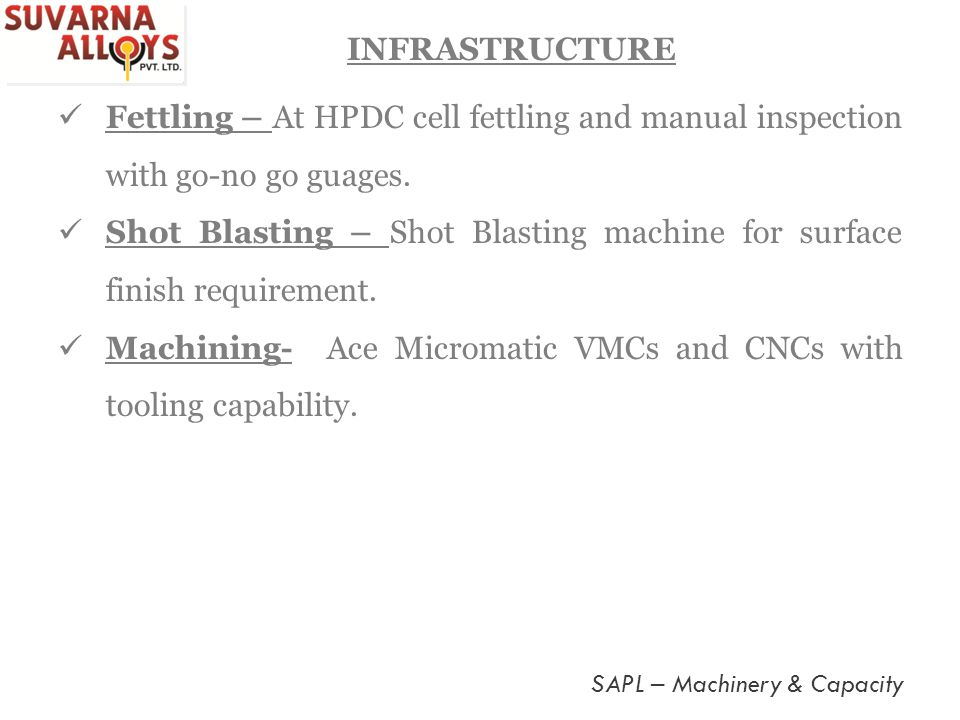 Shot Blasting – Shot Blasting machine for surface finish requirement.