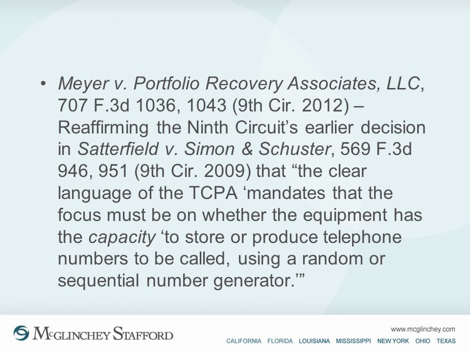 Meyer v. Portfolio Recovery Associates, LLC, 707 F