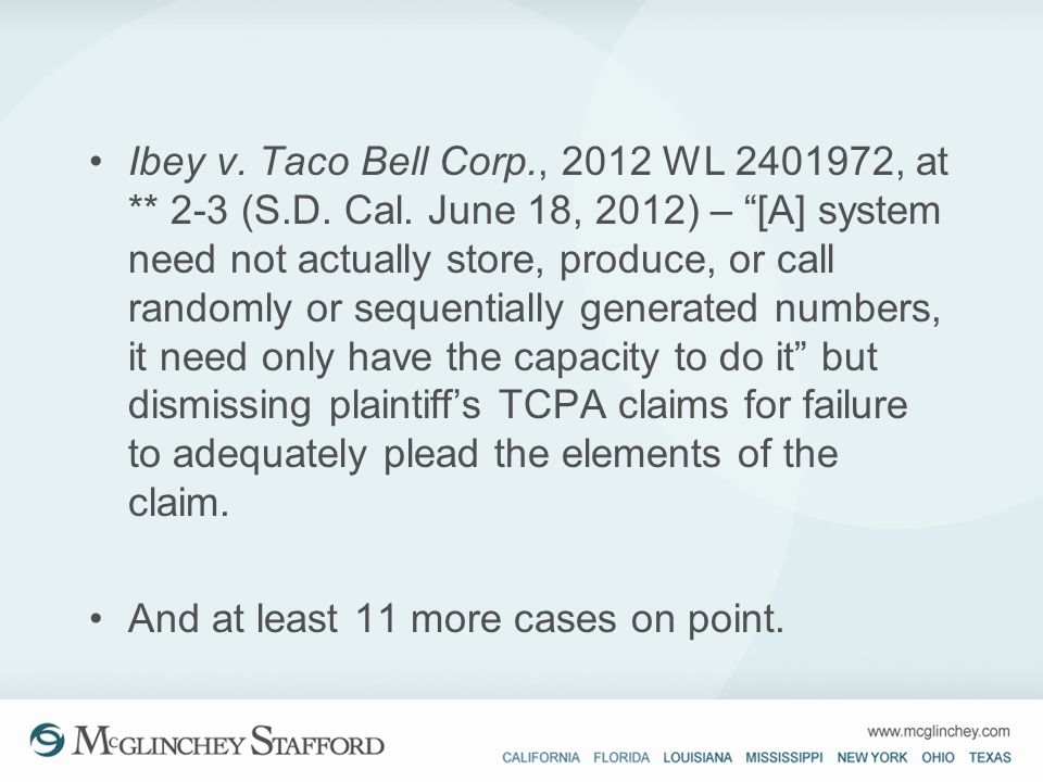 Ibey v. Taco Bell Corp. , 2012 WL 2401972, at. 2-3 (S. D. Cal