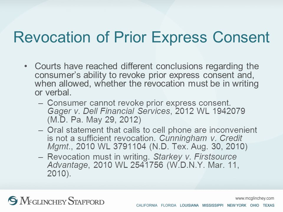 Revocation of Prior Express Consent