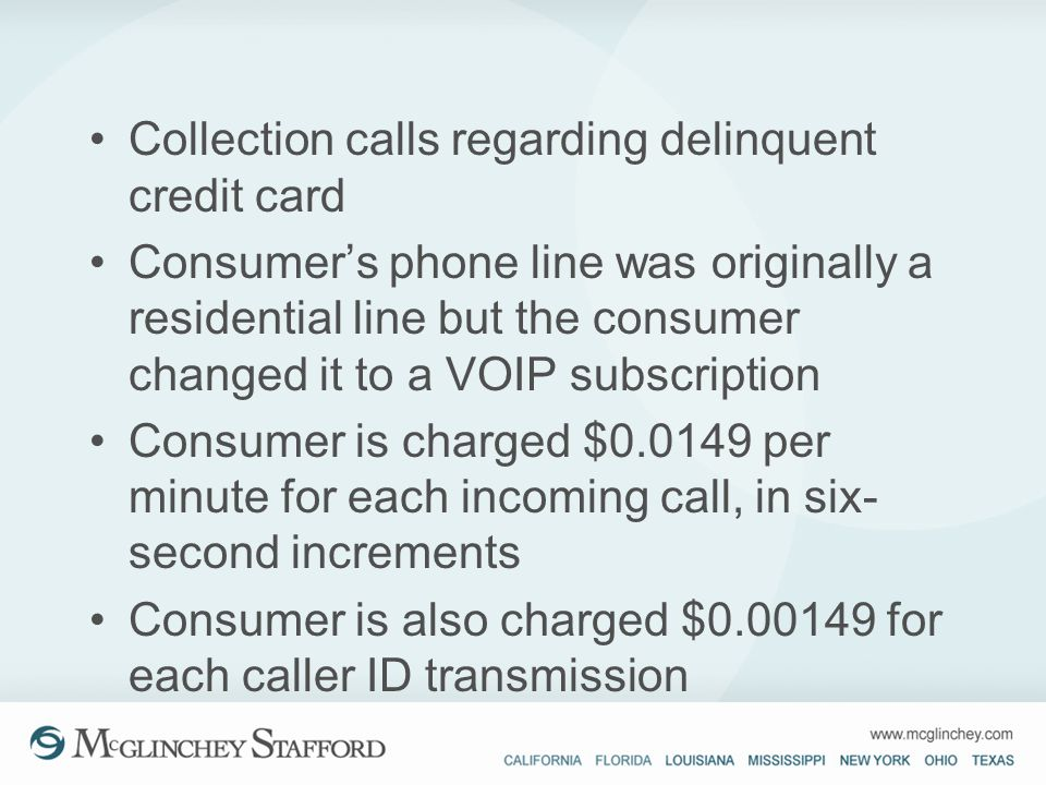 Collection calls regarding delinquent credit card