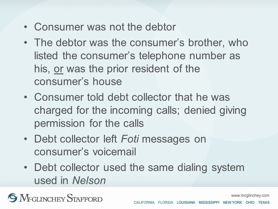 Consumer was not the debtor