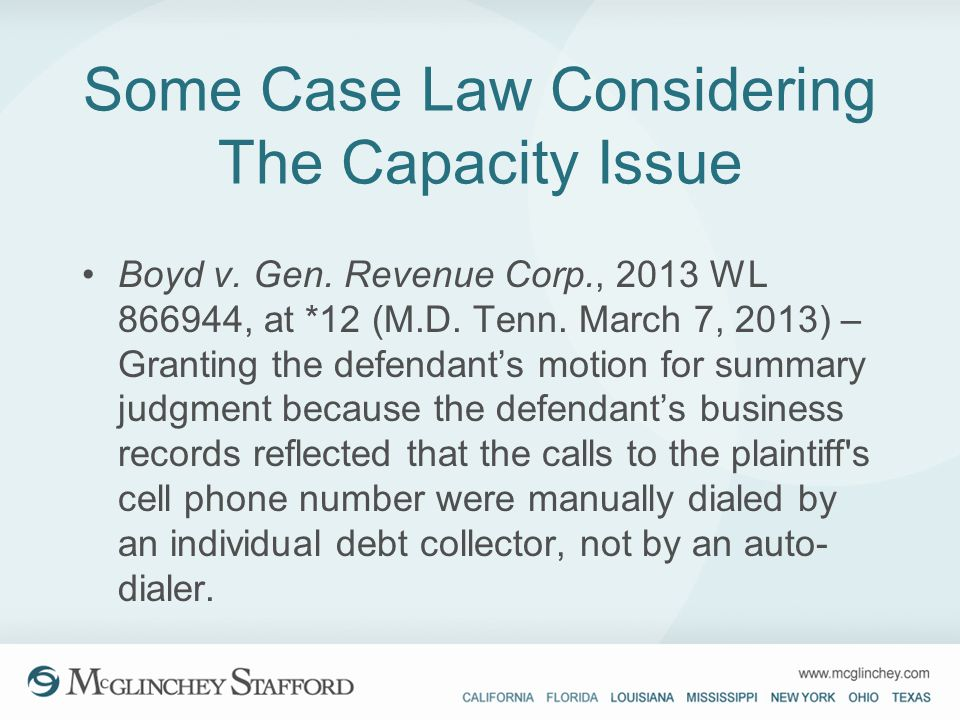 Some Case Law Considering The Capacity Issue