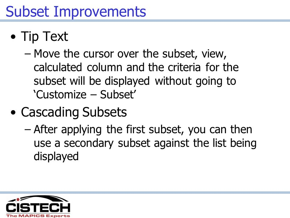 Subset Improvements Tip Text Cascading Subsets