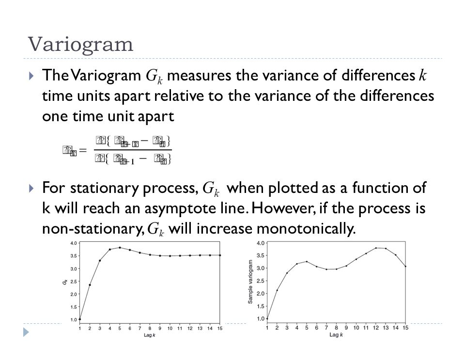Variogram The Variogram Gk measures the variance of differences k time units apart relative to the variance of the differences one time unit apart.