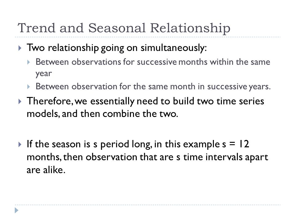 Trend and Seasonal Relationship