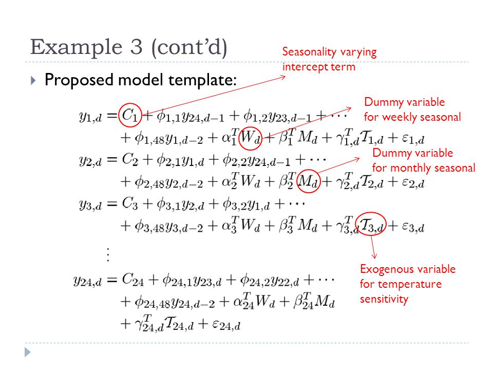 Example 3 (cont'd) Proposed model template: Seasonality varying