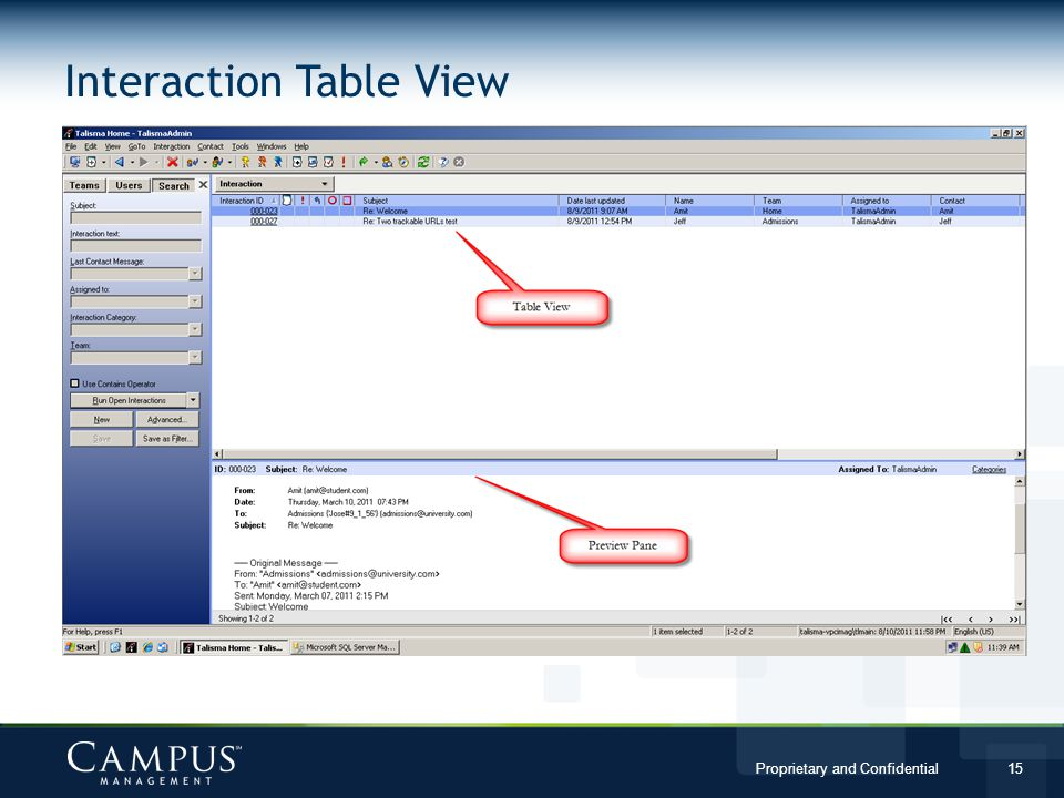 Interaction Table View
