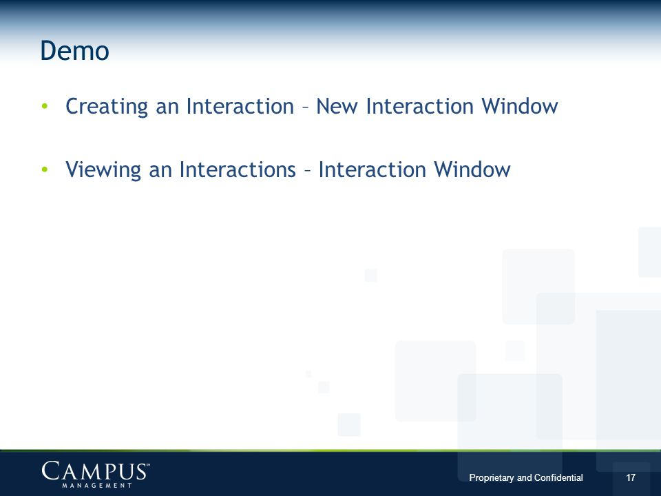 Demo Creating an Interaction – New Interaction Window