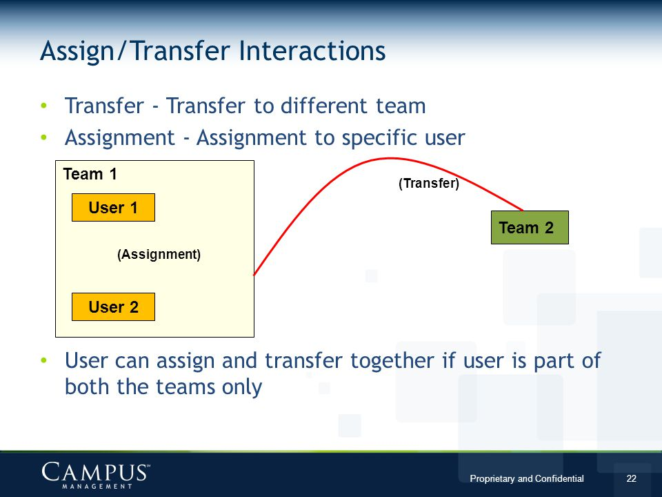 Assign/Transfer Interactions