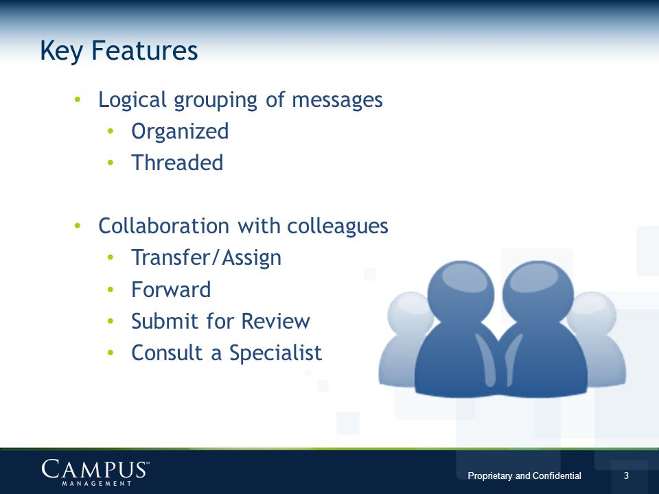 Key Features Logical grouping of messages Organized Threaded