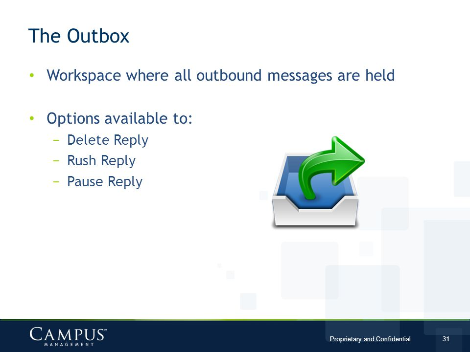 The Outbox Workspace where all outbound messages are held