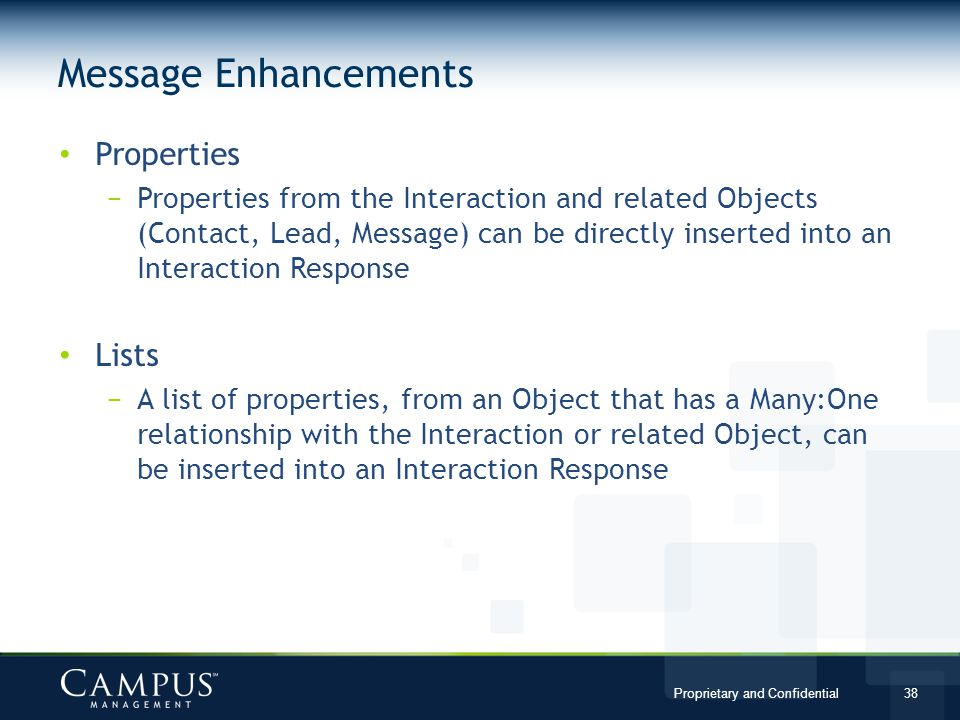 Message Enhancements Properties Lists