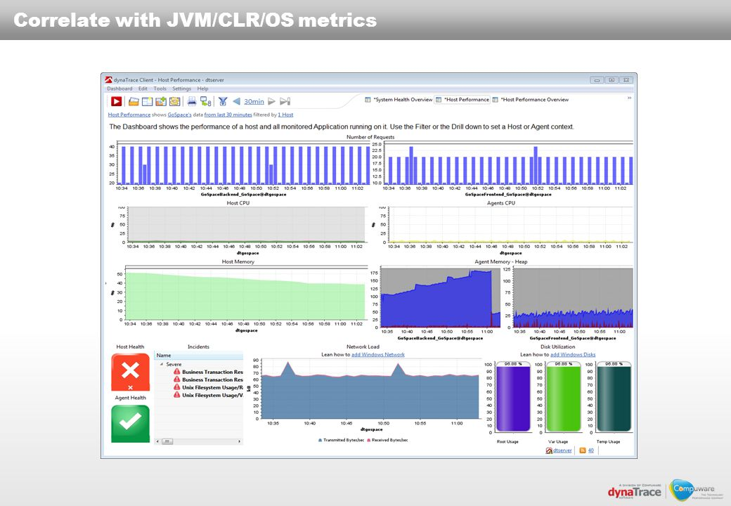 Correlate with JVM/CLR/OS metrics
