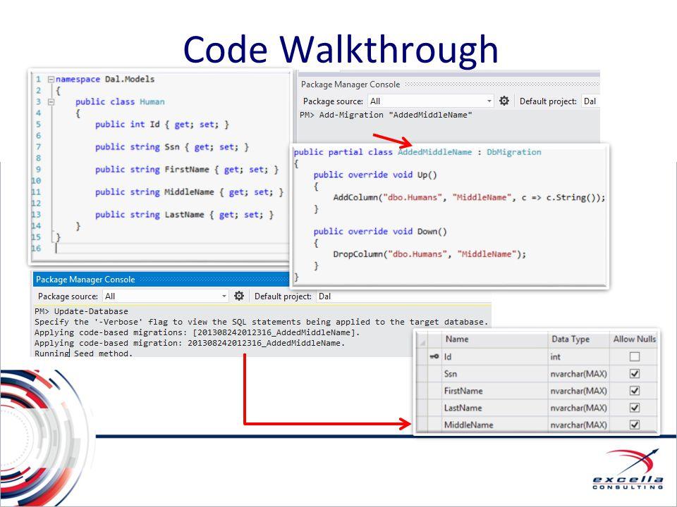 Code Walkthrough Code Walkthrough (First, Enable-Migrations)