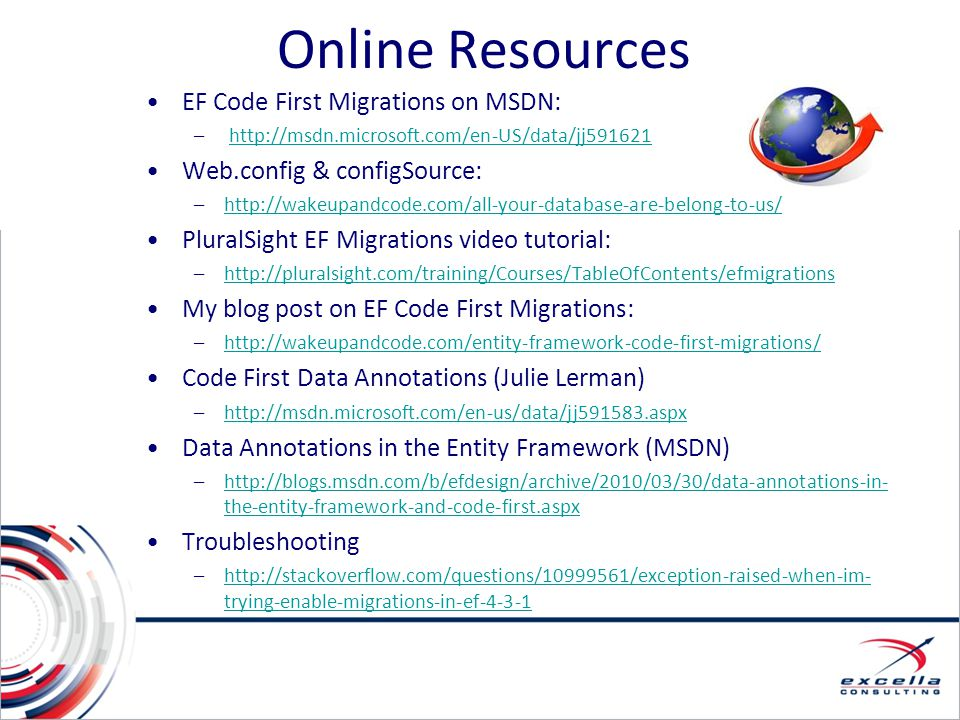 Online Resources EF Code First Migrations on MSDN: