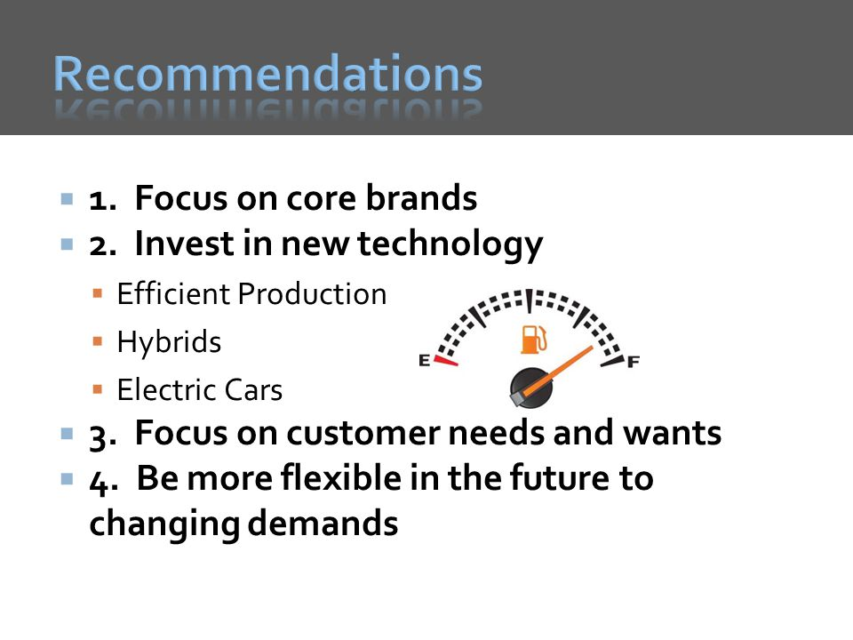 Recommendations 1. Focus on core brands 2. Invest in new technology