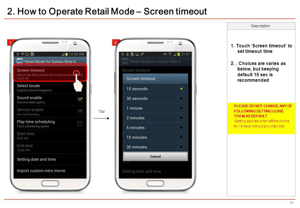 2. How to Operate Retail Mode – Screen timeout