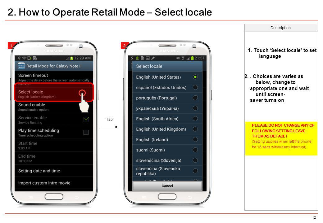 2. How to Operate Retail Mode – Select locale