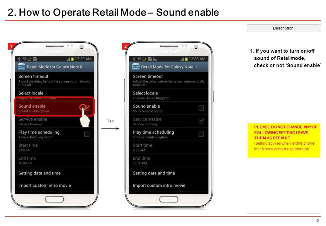 2. How to Operate Retail Mode – Sound enable