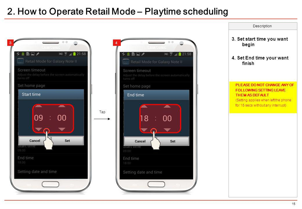 2. How to Operate Retail Mode – Playtime scheduling