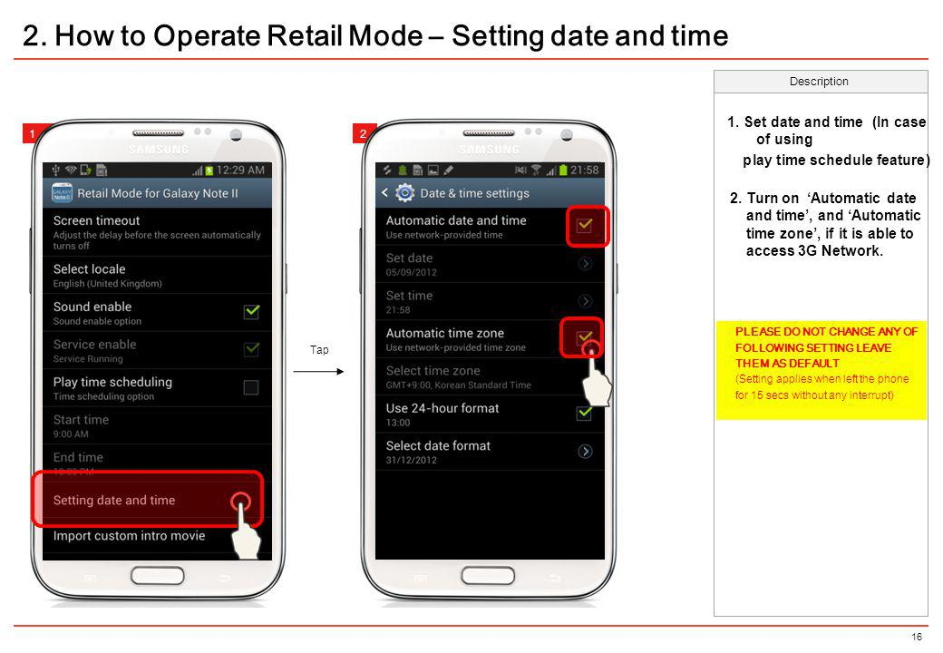 2. How to Operate Retail Mode – Setting date and time